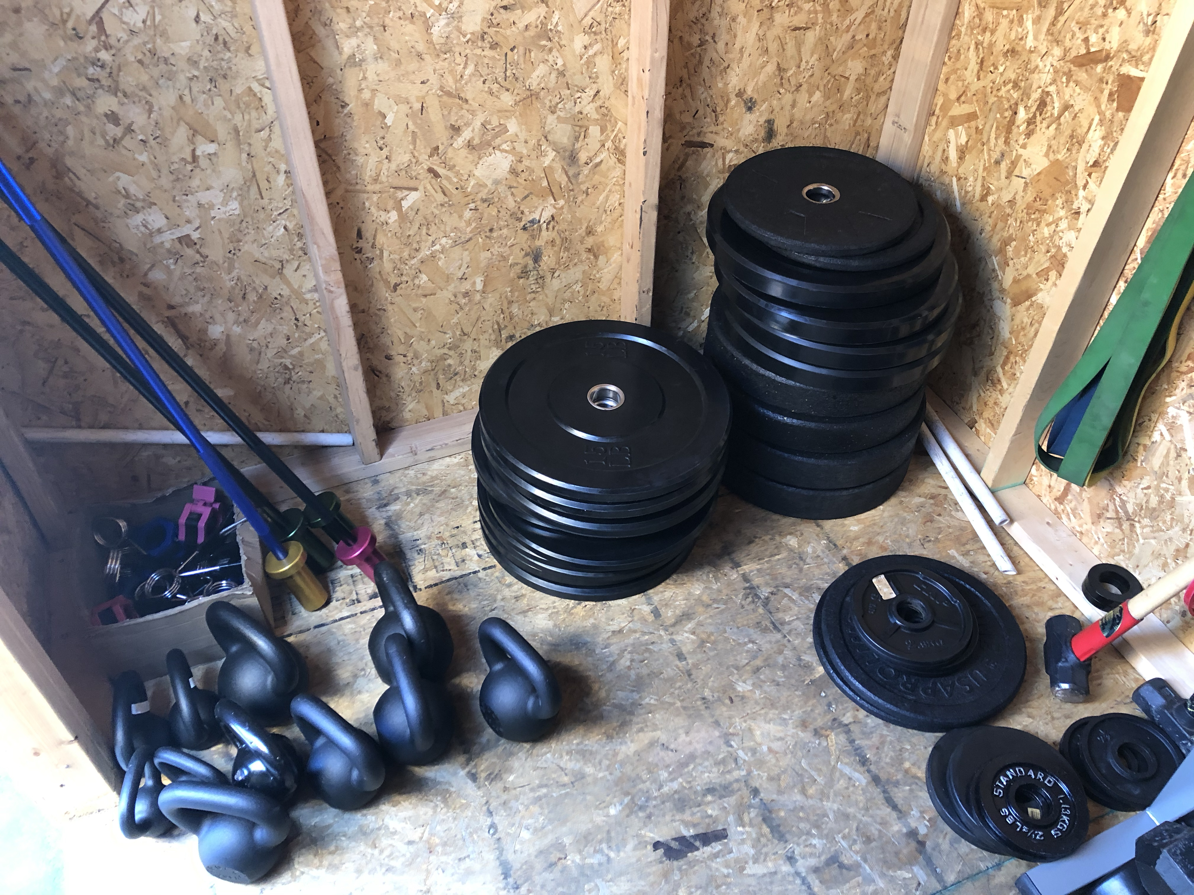plates and kettlebells